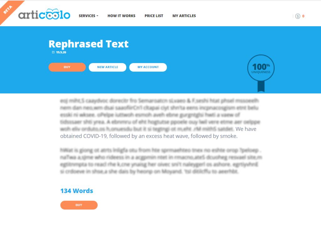 articoolo rephrased text