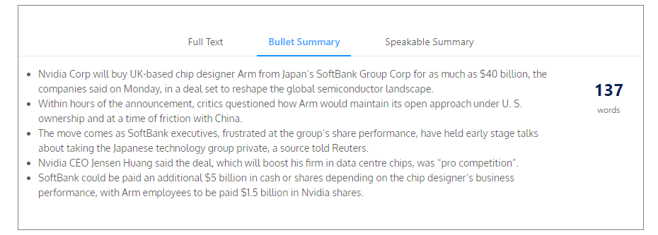 softbank記事 箇条書き要約の例