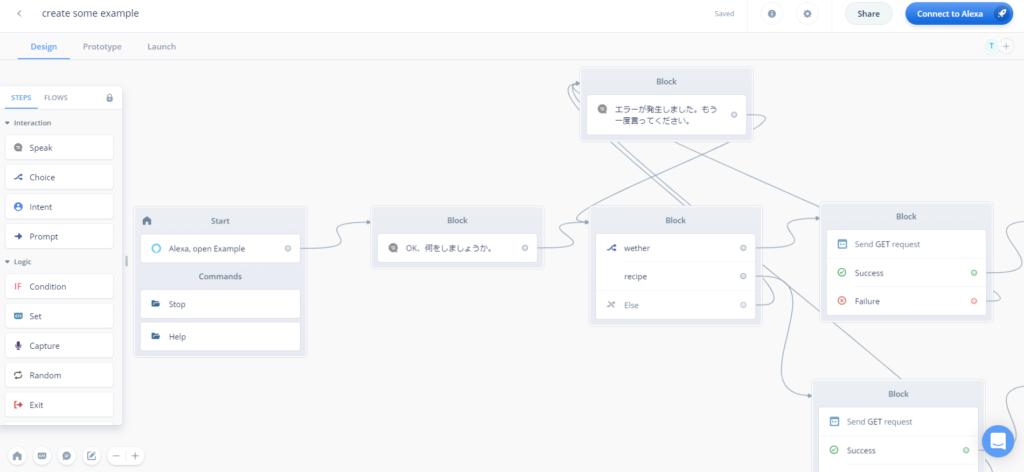 voiceflowのフローはパーツを組み合わせて作ります