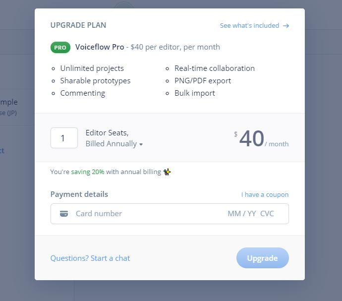 voiceflowの月額料金は月40ドルです