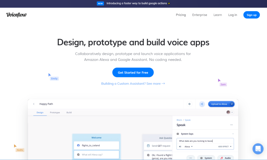 voiceflowのtop画面