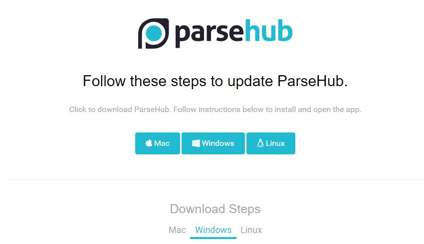 Parsehubインストールファイル選択画面