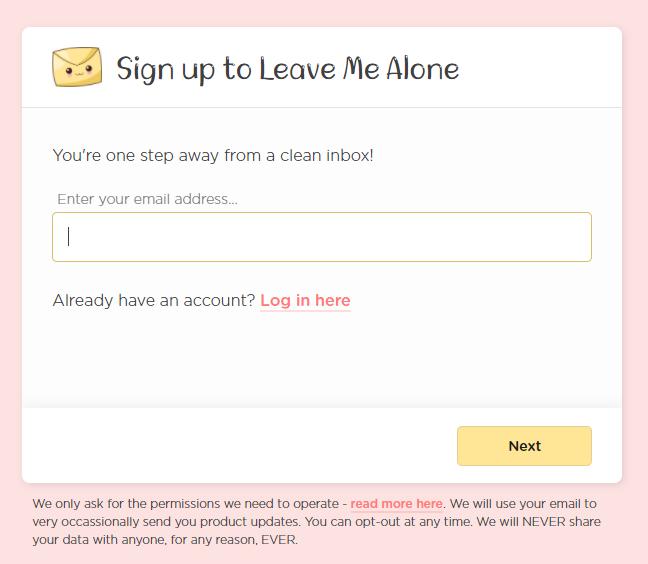 LeaveMeAloneサインアップ